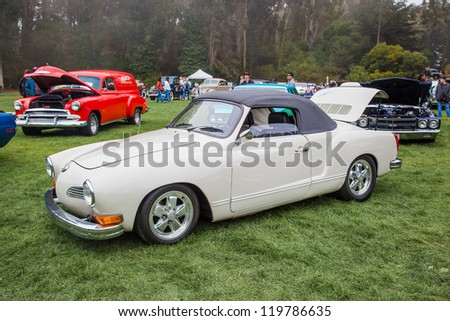 SAN FRANCISCO - SEPTEMBER 29: A Volkwagen Carman Ghia is on display during the 2012 Jimmy's Old Car Picnic in Golden Gate Park in San Francisco on September 29, 2012
