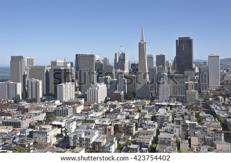 San Francisco skyline and surrounding residential area. - stock photo