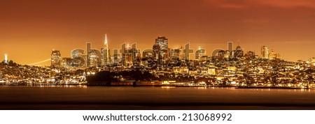 San Francisco skyline at night, USA. - stock photo