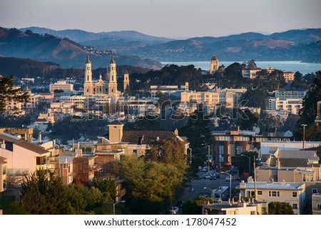 San Francisco skyline at sunset - stock photo