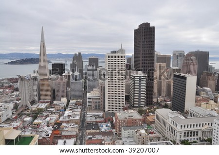 San Francisco skyline with bay in background