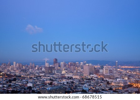 San Francisco skylines at sunset: view from Corona Heights Park.