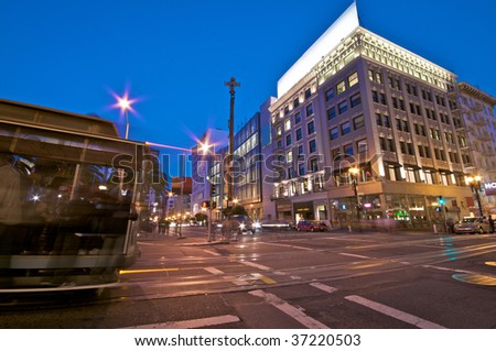 San Francisco Union Square at Night - stock photo
