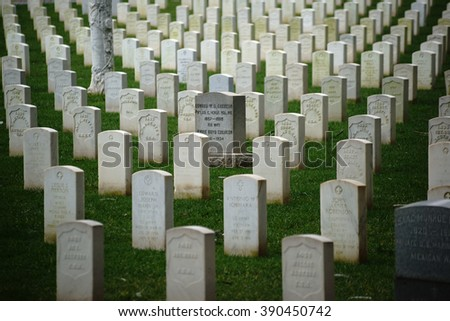 SAN FRANCISCO, UNITED STATES - DECEMBER 21: The National Cemetery of the United States in San Fransisco with graves stones in a row on December 21, 2015 in San Franciscon / Grave stones in a row