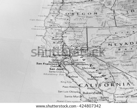 SAN FRANCISCO, USA - CIRCA MAY 2016: Detail of a map of the city with selective focus on town name in black and white
