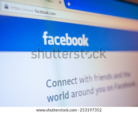 SAN FRANCISCO, USA - DECEMBER 23, 2014: Home page of social network site Facebook - stock photo