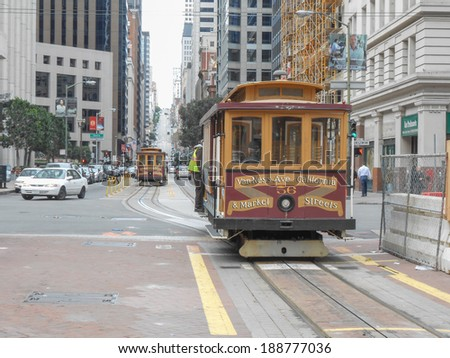 SAN FRANCISCO, USA - FEBRUARY 05, 2013: The San Francisco cable car system is the world's last manually-operated cable car system