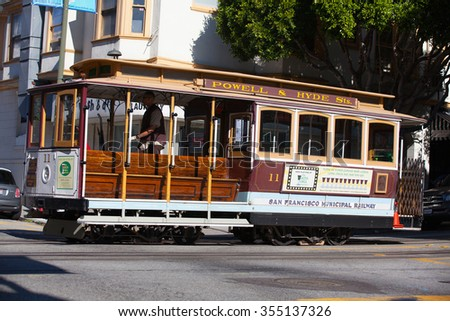 San Francisco - USA - July 17, 2011: Typical San Francisco train  traveling down the Embarcadero on a sunny day.