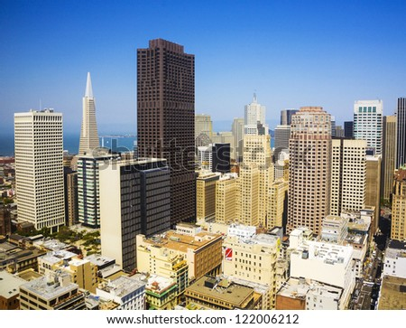 SAN FRANCISCO, USA - JULY 7: view from the rooftop on July, 07,2008, San Francisco, USA.  The city is the site of over 410 high-rises,44 of which stand taller than 400 feet. - stock photo
