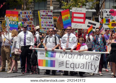 San Francisco USA - JUNE 28 Gay Pride Parade, Mormons for equality, on June 28, 2015 at Market Street - stock photo