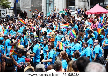 San Francisco USA - JUNE 28 Gay Pride Parade on June 28, 2015 at Market Street