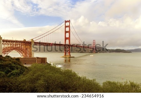 SAN FRANCISCO,USA - MARCH 1 2014:The famous Golden Gate Bridge in California, United States of America.View of Fort Point,the bay,surfers and the red suspended bridge connecting Frisco to Marin County