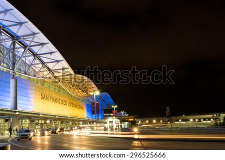 San Francisco, USA - May 24, 2015: Departure level at San Francisco International airport at night - stock photo