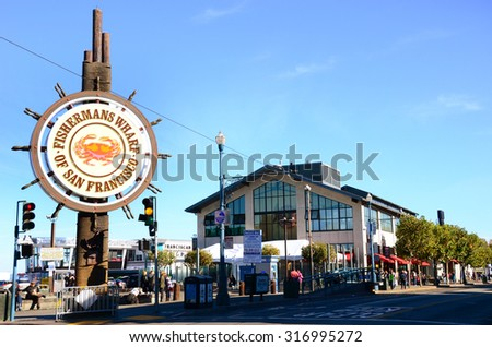 SAN FRANCISCO, USA - November 25, 2014: Fishermans Wharf of San Francisco central sign on November 25, 2014. Fisherman's Wharf is a popular tourist attraction in California.