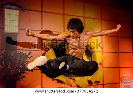 SAN FRANCISCO, USA - OCT 5, 2015: Bruce Lee at the Madame Tussauds museum in SF. It was open on June 26, 2014 - stock photo