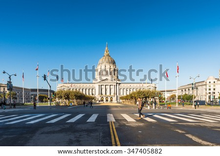 SAN FRANCISCO, USA - OCT 5, 2015: City Hall of San Francisco. San Francisco is the cultural, commercial, and financial center of Northern California