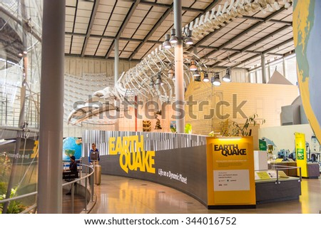 SAN FRANCISCO, USA - OCT 5, 2015: Exhibits of Earthquake in the California Academy of Sciences, a natural history museum in San Francisco, California. It was established in 1853