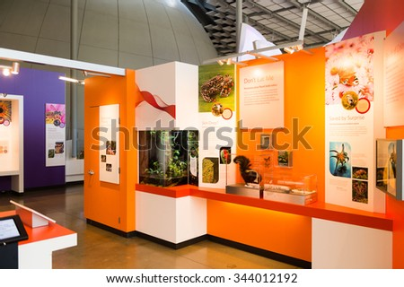 SAN FRANCISCO, USA - OCT 5, 2015: Interior of the California Academy of Sciences, a natural history museum in San Francisco, California. It was established in 1853