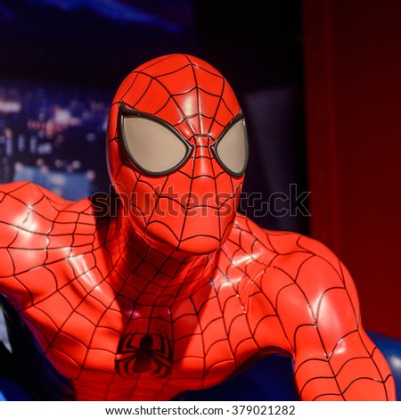 SAN FRANCISCO, USA - OCT 5, 2015: Spider Man at the Madame Tussauds museum in SF. It was open on June 26, 2014 - stock photo