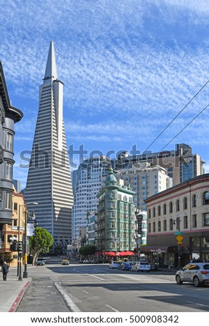 San Francisco, USA - September 22, 2016: Transamerica building is seen from Columbus street in a sunny day, San Francisco, USA.