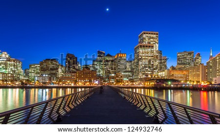 San Francisco view from Pier 14 at night. - stock photo