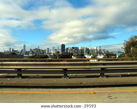 San Franciso, the city by the Bay, as viwed from a highway near it. - stock photo