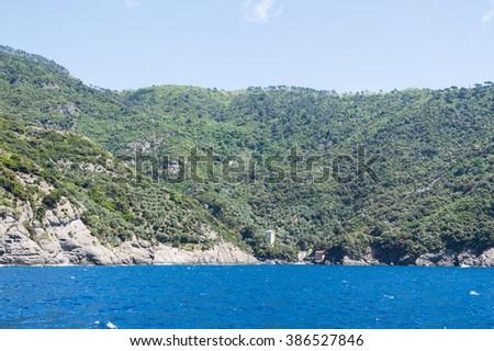 San Fruttuoso from the sea - stock photo