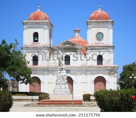 San Fulgencio's Church, Parque Calixto Garcia, Gibara, Cuba. - stock photo