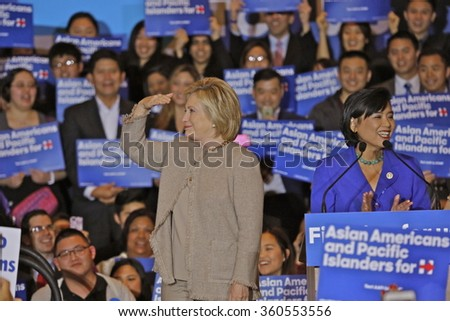 SAN GABRIEL, LA, CA - JANUARY 7, 2016, Democratic Presidential candidate Hillary Clinton surveys crowd at Asian American and Pacific Islander (AAPI) event, including Democrat Representative Judy Chu.