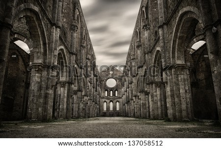 San Galgano HDR. Church in tuscany - stock photo