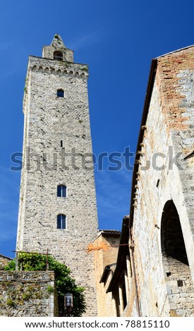San Gimignano is the city of beautiful towers, landmark of Tuscany, Italy - stock photo