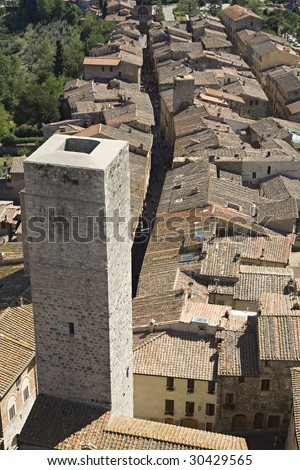 San Gimignano tall towers in Tuscany - stock photo