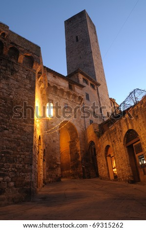 San Gimignano - This village is known as the city of the Beautiful Towers rich in History, Art and Culture surrounded by the splendid Tuscan countryside. - stock photo
