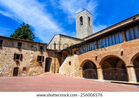 San Gimignano, Tuscany in Italy. Medieval walled city, known for his beautiful towers, main tuscan landmark of Italy. - stock photo