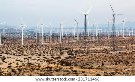 San Gorgonio Pass Wind Farm 1. The San Gorgonio Pass Wind Farm, located near route 10 in the San Gorgonio Pass in Riverside County, California. - stock photo