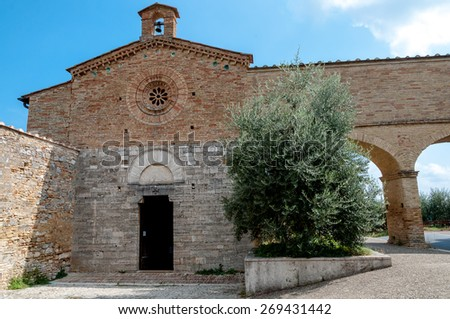 San Jacopo church fachade at San Gimignano - Italy - stock photo