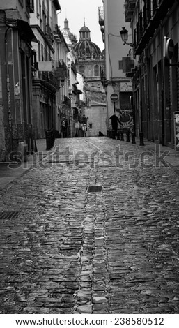 San Jeronimo street, Granada center - stock photo