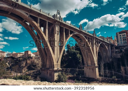 "San Jordi Bridge, Art Deco style, one of the most famous bridge in Alcoy city. The city is known as ""city of bridges"". Province of Alicante, Spain  - stock photo"
