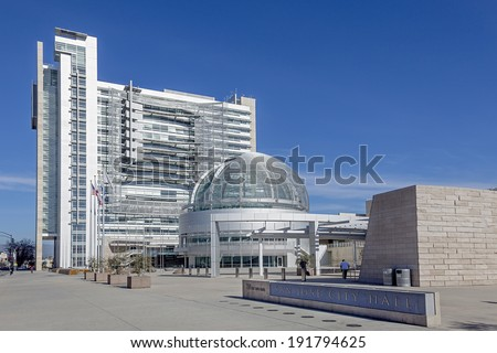 SAN JOSE, CALIFORNIA - MARCH 1, 2013: The Modern Architecture of the San Jose City Hall, California. San Jose City Hall opened for the public on October 15, 2005 and designed by Richard Meier.