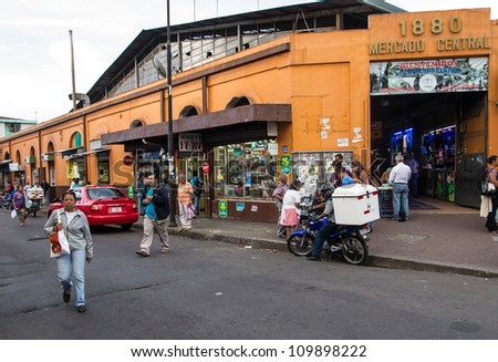 SAN JOSE, COSTA RICA - CIRCA AUGUST 2012: Exterior of Central Market circa 2012 in San Jose, a very popular attraction and the biggest market in the city  with more than 10.000 daily visitors. - stock photo