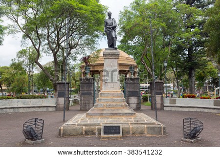 SAN JOSE, COSTA RICA - MAY 17: Simon Bolivar square, monument to Simon Bolivar in San Jose, Costa Rica on May 17, 2014. The monument is located in the central part of San Jose city