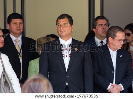 San Jose, Costa Rica. May, 8th, 2014. Rafael Correa, President of Ecuador, attends to presidency assumption of Luis Guillermo Solis in Costa Rica. - stock photo