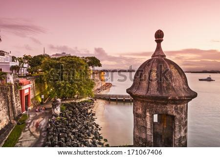 San Juan, Puerto Rico coast at Paseo de la Princesa. - stock photo