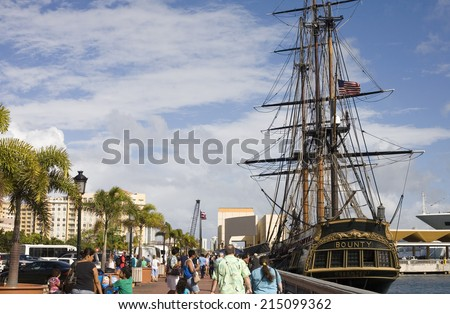 SAN JUAN, PUERTO RICO - FEBRUARY 6: Movie version replica of HMS bounty docked in San Juan Puerto Rico before being lost at sea due to Hurricane Sandy.  Taken February 6, 2011 in Puerto Rico. - stock photo