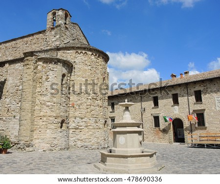 San Leo (Rimini), Italy. Medieval village. The most beautiful small town in Italy. The unknown Italian charm, hidden and beauty.
