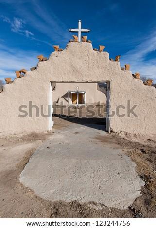 San Lorenzo Church in Picuris Pueblo, New Mexico - stock photo