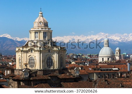 San Lorenzo church, Turin, aerial view - stock photo