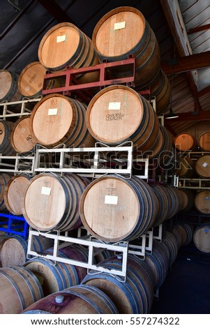 San Luis Obispo, USA - july 15 2016 : barrel in the cellar of the Claiborne and Churchhill winery