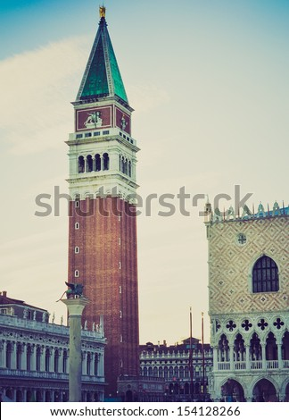 San Marco church square in Venice (Venezia), Italy vintage looking - stock photo