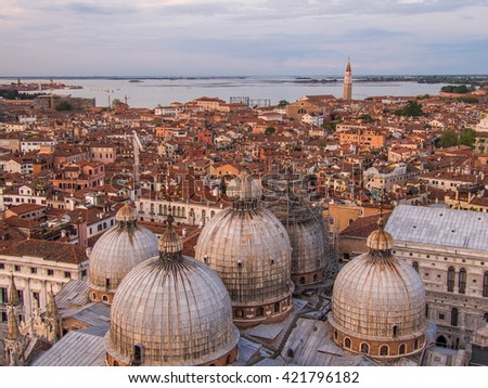 San Marco domes view from the heights, Venice, Italy. - stock photo